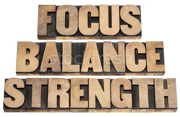 Stockfoto: Focus · evenwicht · sterkte · prestaties · geïsoleerd · tekst