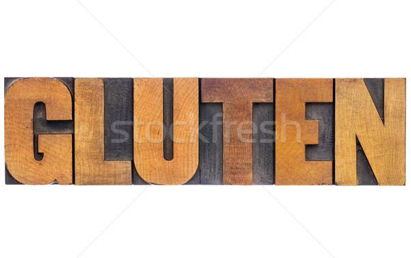 Gluten woord hout type geïsoleerd tekst Stockfoto © PixelsAway