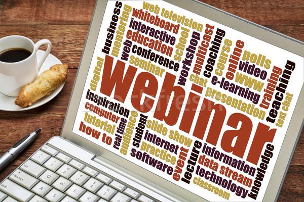 Webinar szófelhő laptop háló előadás képernyő Stock fotó © PixelsAway