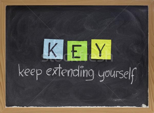 Magad motiváció betűszó kulcs edzés motivációs Stock fotó © PixelsAway