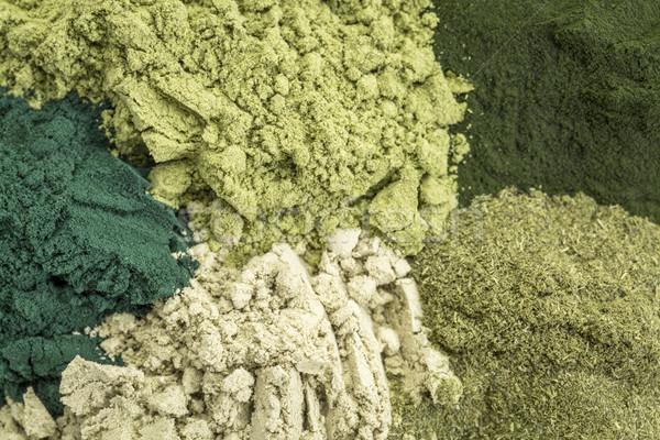 Egészséges zöld diétás kiegészítők öt táplálékkiegészítő Stock fotó © PixelsAway