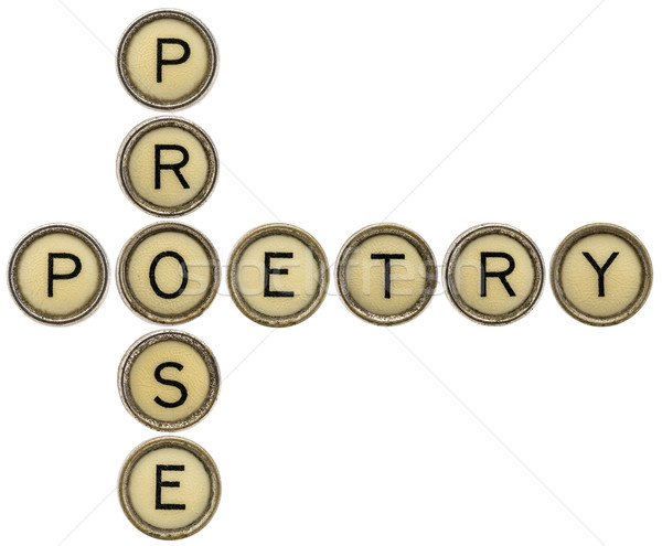 Poesia palavras cruzadas velho máquina de escrever teclas isolado Foto stock © PixelsAway