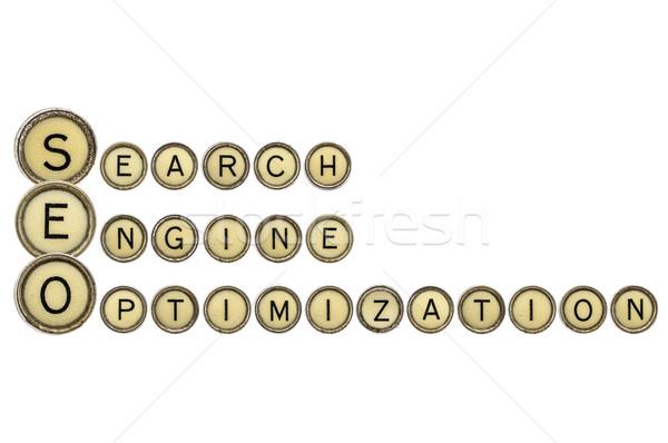 Seo acroniem oude schrijfmachine sleutels Stockfoto © PixelsAway