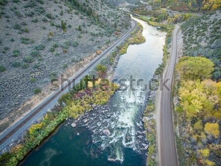river diversion dam - aerial view Stock photo © PixelsAway