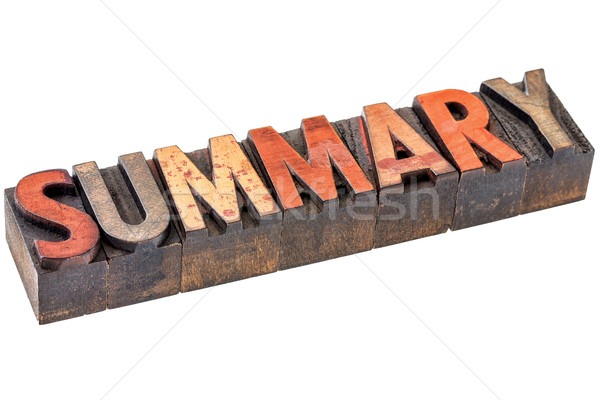 summary word in vintage wood type Stock photo © PixelsAway