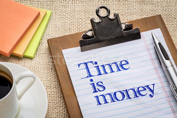 Az idő pénz emlékeztető motivációs jelmondat vágólap csésze Stock fotó © PixelsAway