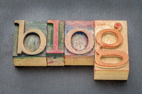 Foto stock: Blog · palavra · madeira · tipo · manchado