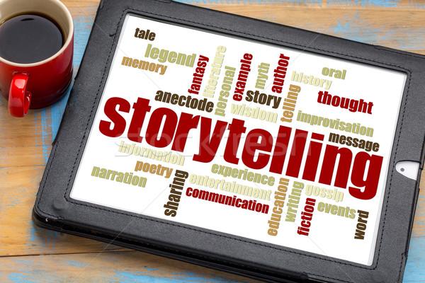 storytelling  word cloud on tablet Stock photo © PixelsAway