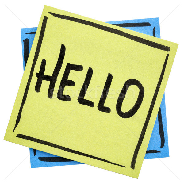 Hello greeting on sticky note Stock photo © PixelsAway
