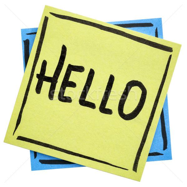 Hello üdvözlet öntapadó jegyzet kézírás fekete tinta Stock fotó © PixelsAway