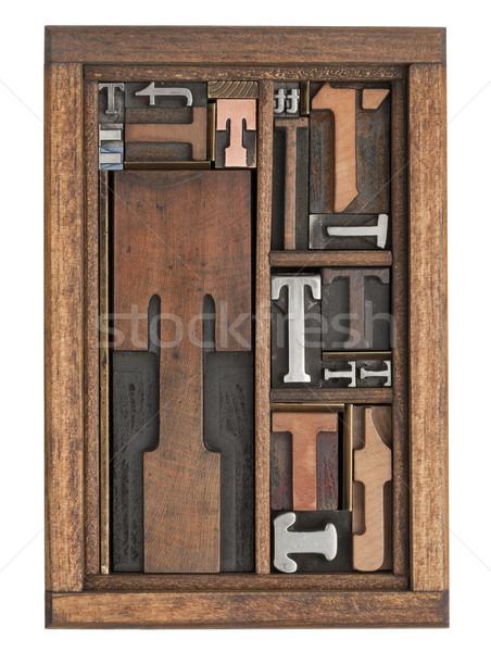 T betű absztrakt klasszikus magasnyomás nyomtatás kockák Stock fotó © PixelsAway