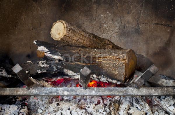 fireplace with burning wood logs Stock photo © PixelsAway