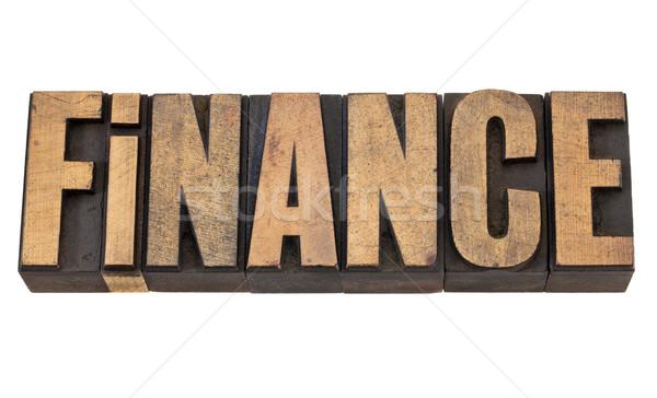 Foto stock: Financiar · palavra · madeira · tipo · isolado · texto