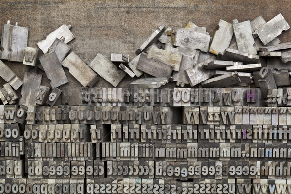 Stock photo: metal letterpress printing blocks