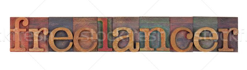 Freelancer hout type woord vintage Stockfoto © PixelsAway