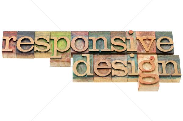 Duyarlı dizayn ahşap tip web sitesi yalıtılmış Stok fotoğraf © PixelsAway
