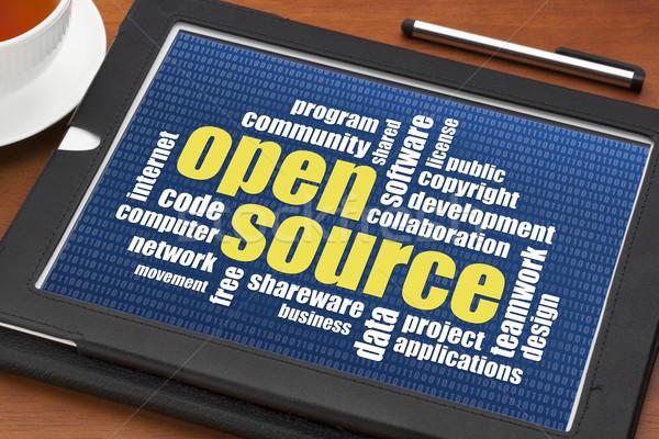 Ouvrir source nuage de mots logiciel développement numérique Photo stock © PixelsAway