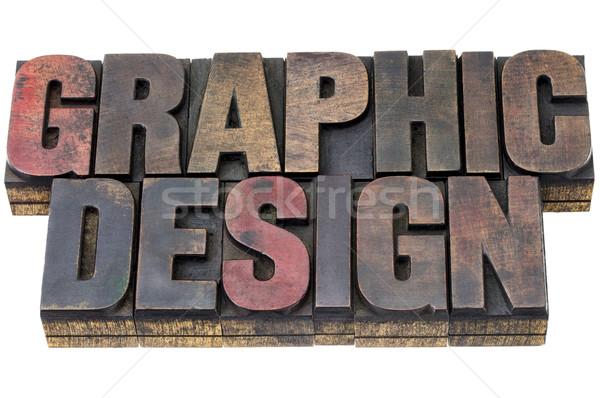 Grafisch ontwerp grunge hout type vintage Stockfoto © PixelsAway