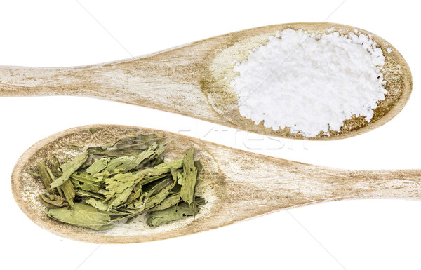 stevia leaf and white cane sugar Stock photo © PixelsAway