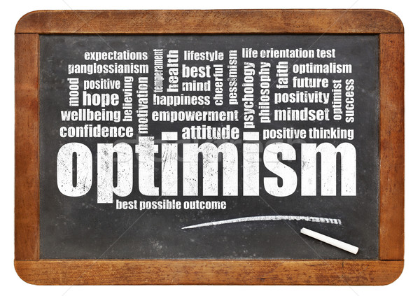 optimism word cloud on blackboard Stock photo © PixelsAway