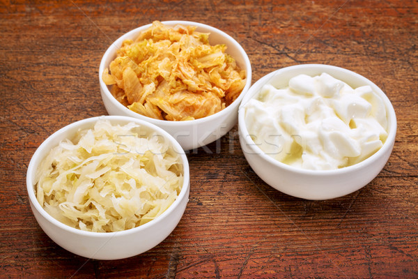 sauerkraut, kimchi and yogurt Stock photo © PixelsAway