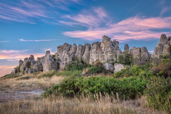 Természetes erőd tájékozódási pont történelmi hajnal északi Stock fotó © PixelsAway