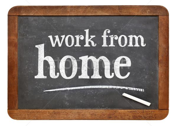 Evden çalışma tahta beyaz tebeşir metin Stok fotoğraf © PixelsAway
