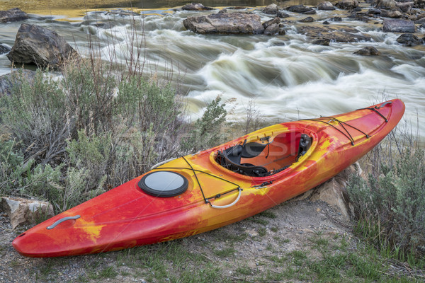 whitewater kayak and river rapid Stock photo © PixelsAway