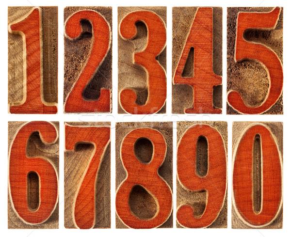 wood type numbers isolated set Stock photo © PixelsAway