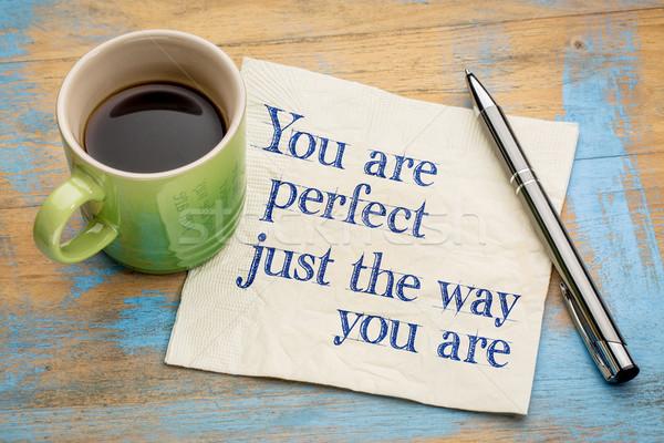 Perfect manier handschrift servet beker espresso Stockfoto © PixelsAway