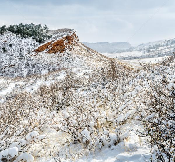 Stock fotó: Colorado · friss · hó · homokkő · sziklák · mezők