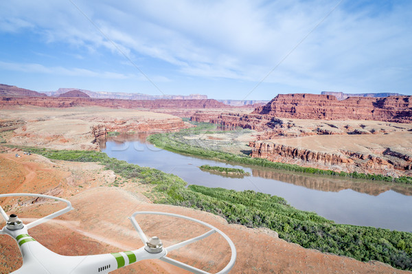 Canyon rivier luchtfoto jeep parcours kamp Stockfoto © PixelsAway