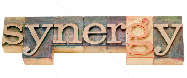 synergy word in letterpress type Stock photo © PixelsAway