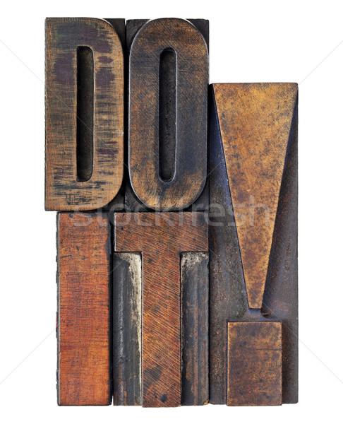 Foto stock: Motivación · aislado · texto · vintage · madera