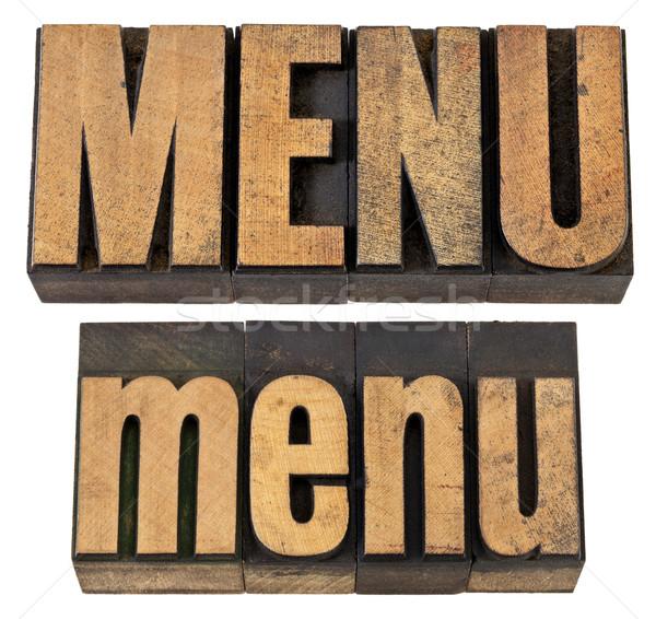 menu word in letterpress wood type Stock photo © PixelsAway