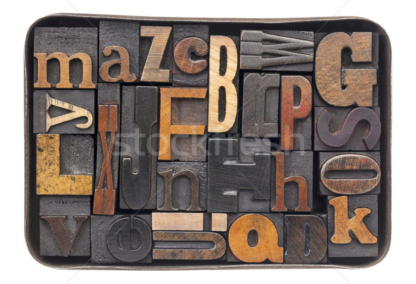 Bağbozumu ahşap alfabe kutu tip Stok fotoğraf © PixelsAway