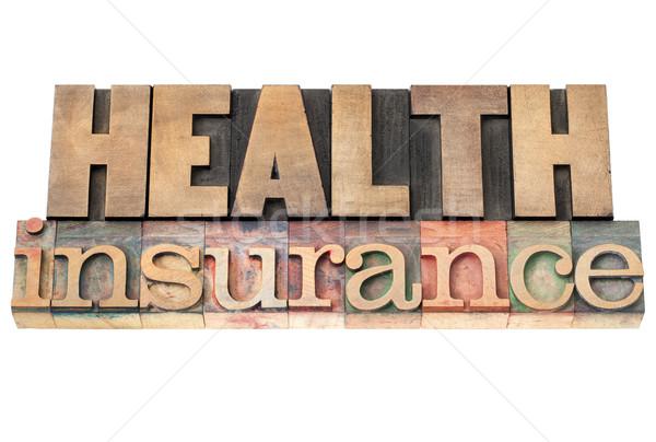 Seguro de saúde saúde isolado texto vintage Foto stock © PixelsAway