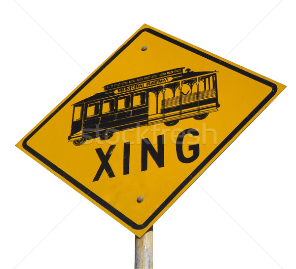 cable car crossing street sign Stock photo © PixelsAway