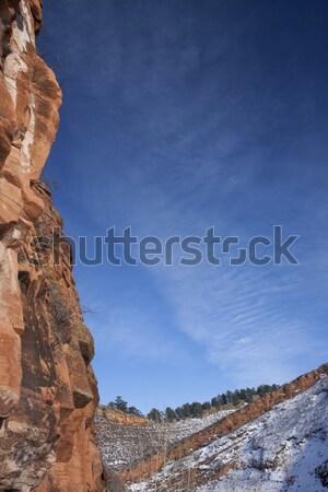 赤 砂岩 崖 青空 垂直 コロラド州 ストックフォト © PixelsAway