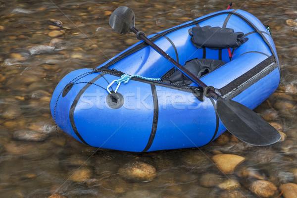Blu luce zattera usato spedizione avventura Foto d'archivio © PixelsAway