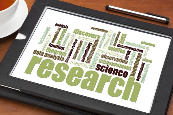 Stockfoto: Wetenschappelijk · onderzoek · woordwolk · digitale · tablet · gegevens · onderzoek