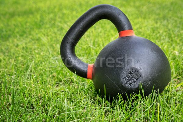 Zwaar concurrentie ijzer groen gras Stockfoto © PixelsAway