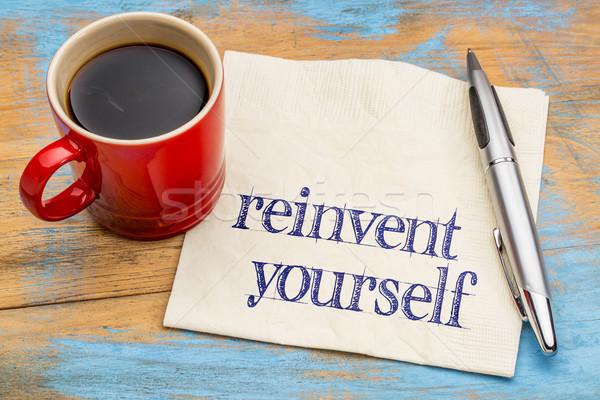 Foto stock: Usted · mismo · servilleta · escritura · motivacional · consejo · desarrollo