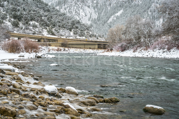 Colorado rivier canyon sneeuwstorm interstate snelweg Stockfoto © PixelsAway