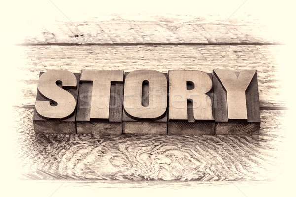 Stock photo: story word in vintage letterpress wood type