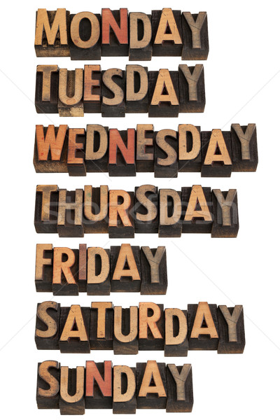Yedi hafta 7 gün bağbozumu ahşap Stok fotoğraf © PixelsAway