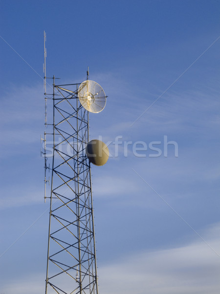 telecommunications tower with blue sky in background Stock photo © PixelsAway