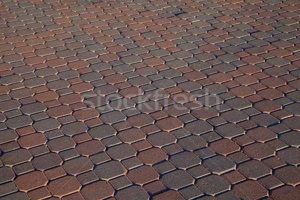 Ladrillo pavimento rojo marrón diagonal patrón Foto stock © PixelsAway