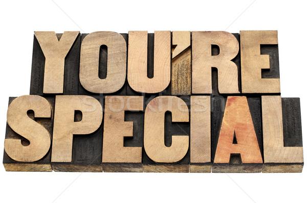 специальный древесины тип комплимент изолированный текста Сток-фото © PixelsAway