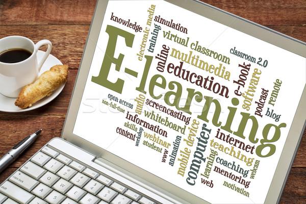 слово облако ноутбука онлайн образование Кубок Сток-фото © PixelsAway